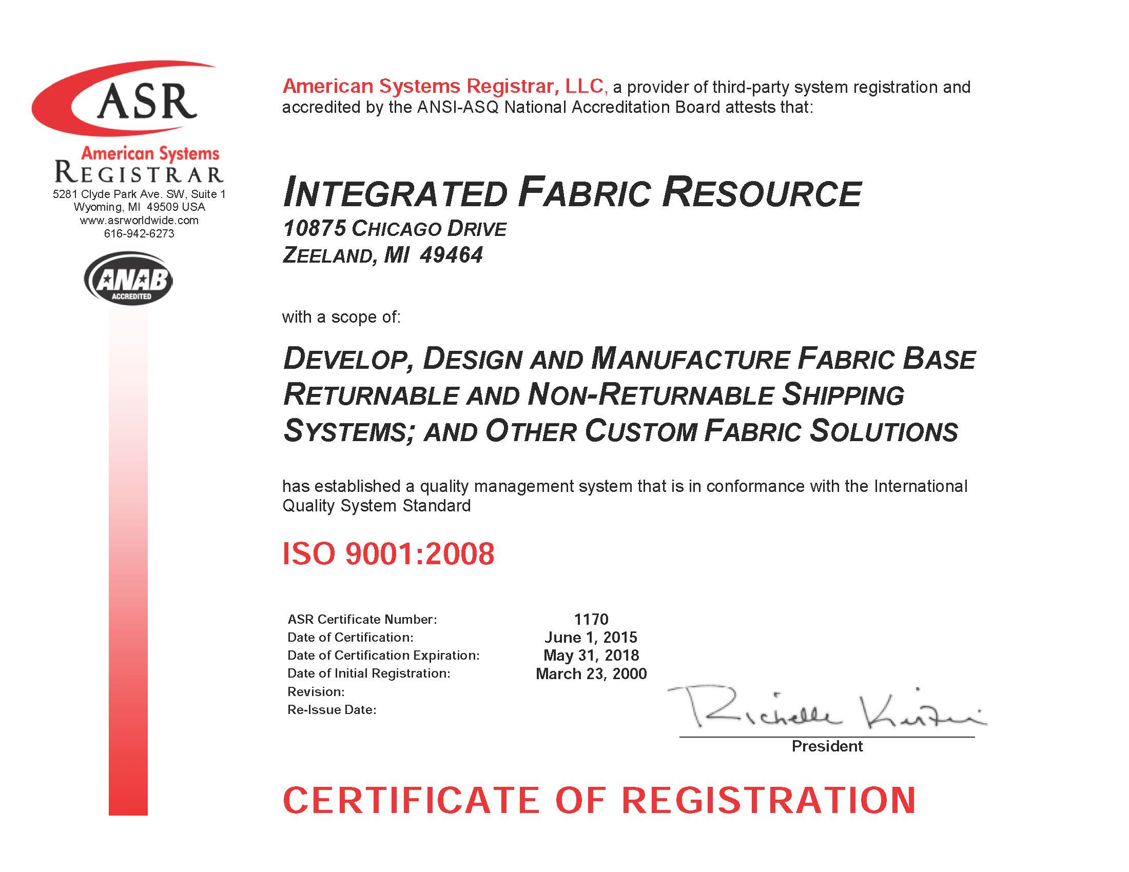 Iso certification integrated fabric resource 1170 integrated fabric resource iso 9001 certificate may 2015 signed xflitez Choice Image