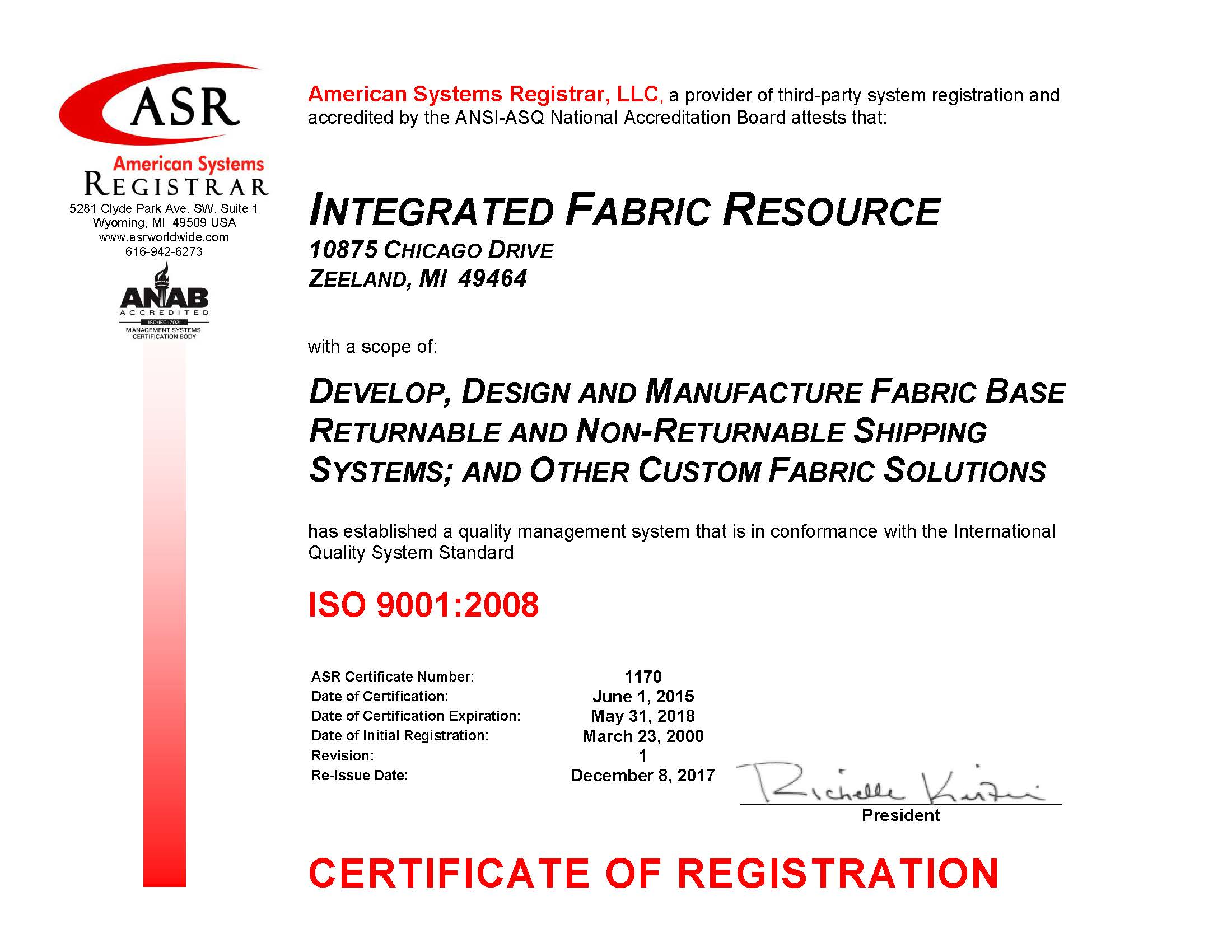 Iso certification integrated fabric resource 1170 integrated fabric resource iso 9001 certificate december 2017 signed 1betcityfo Choice Image